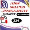 nios accountancy 224 solve assignment pdf